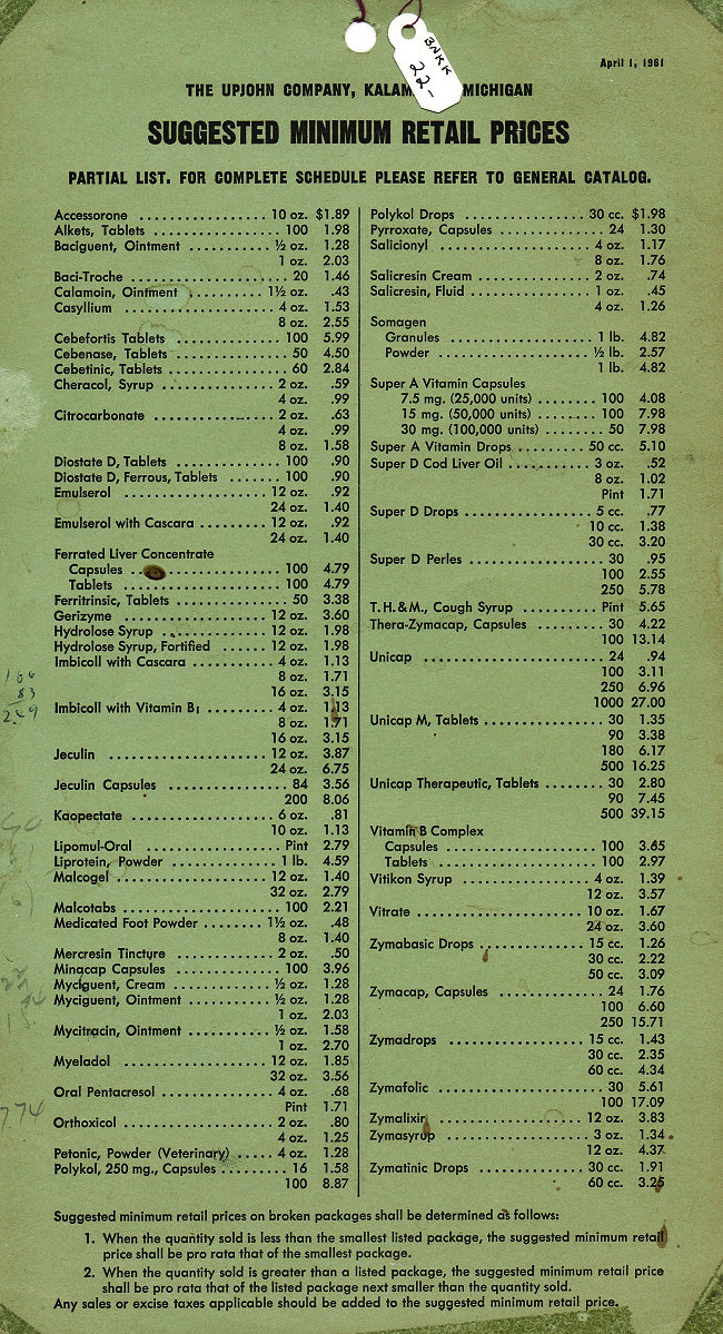 1961 Upjohn OTC Price List